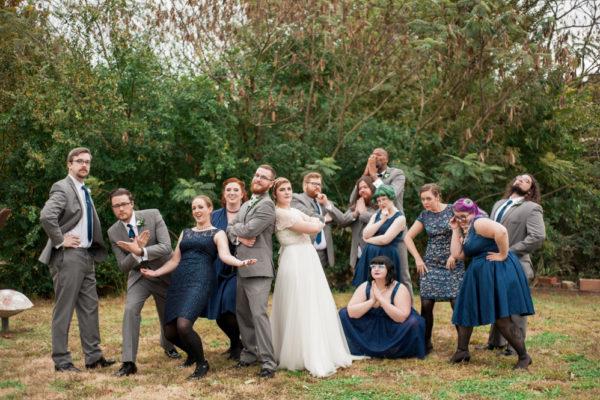wedding party cover album pose