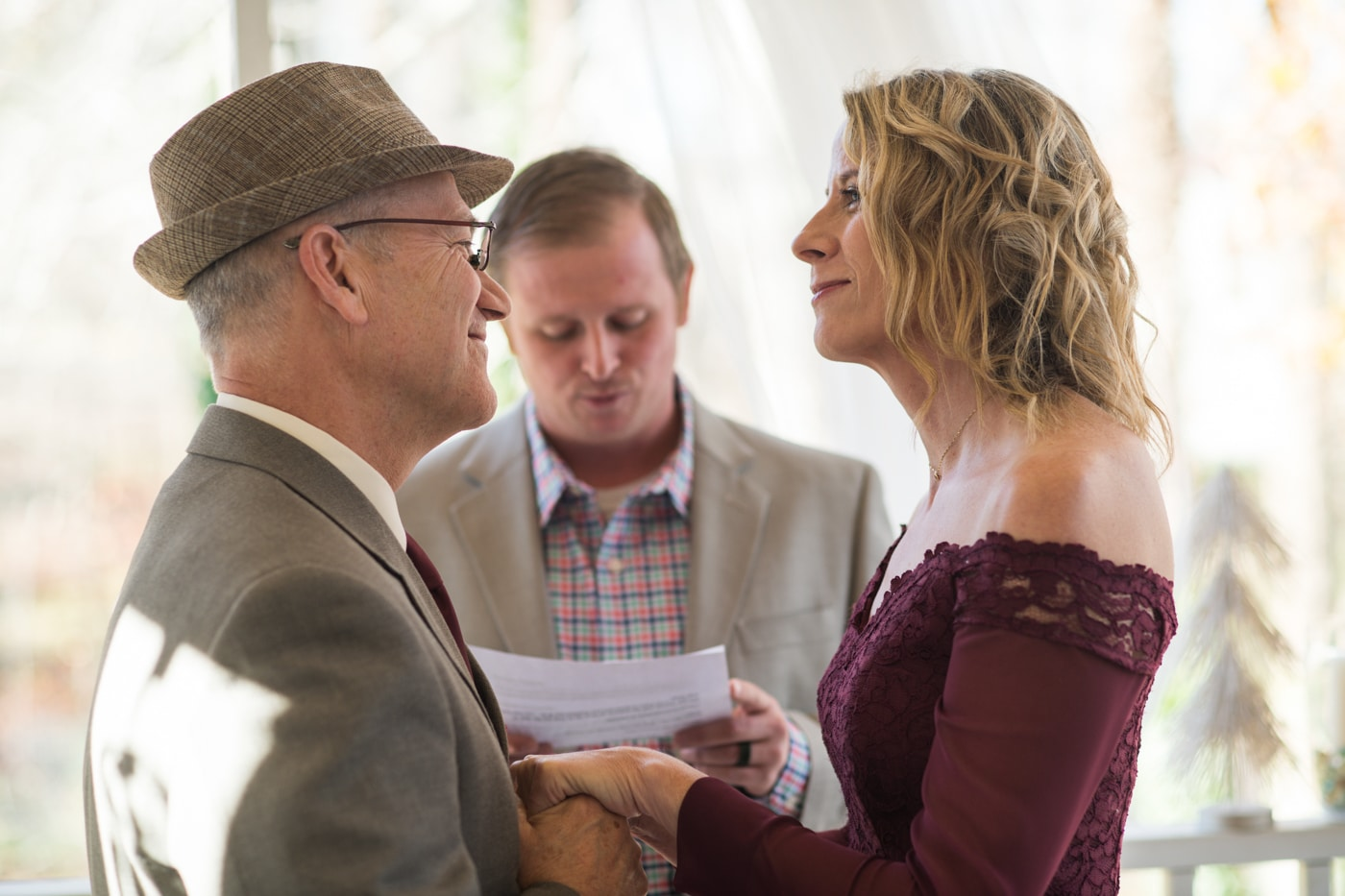 couple exchanges vows during at-home elopement in Atlanta GA