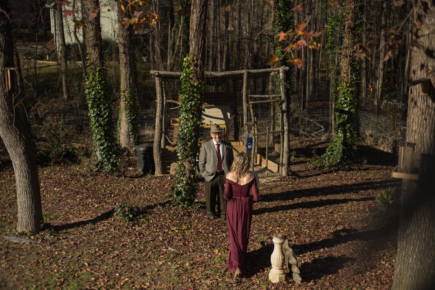married couple walks to chicken coop after elopement