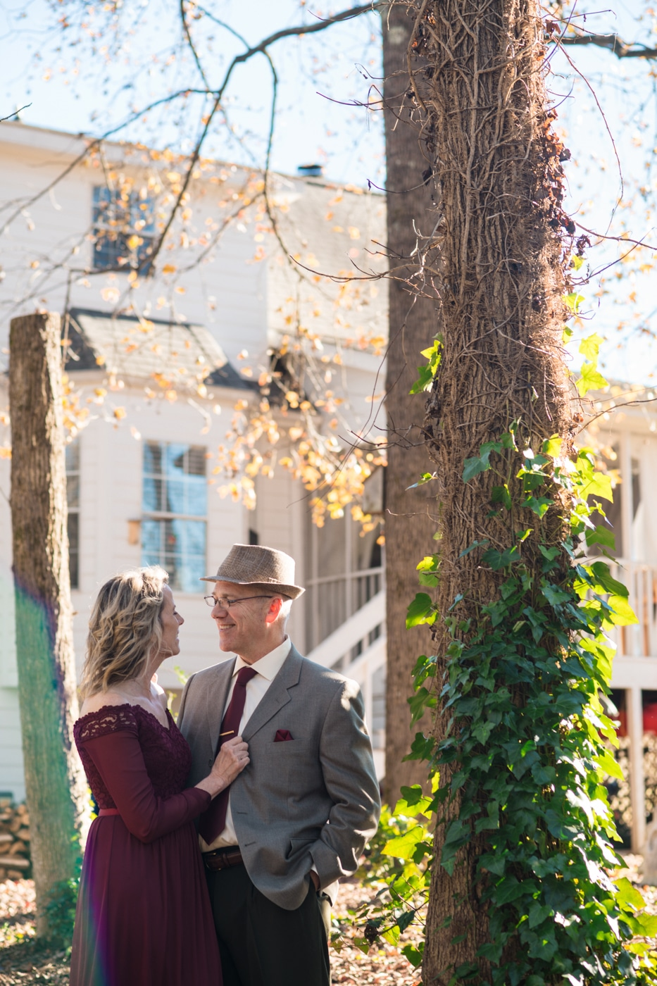 at-home elopement with portraits outside home