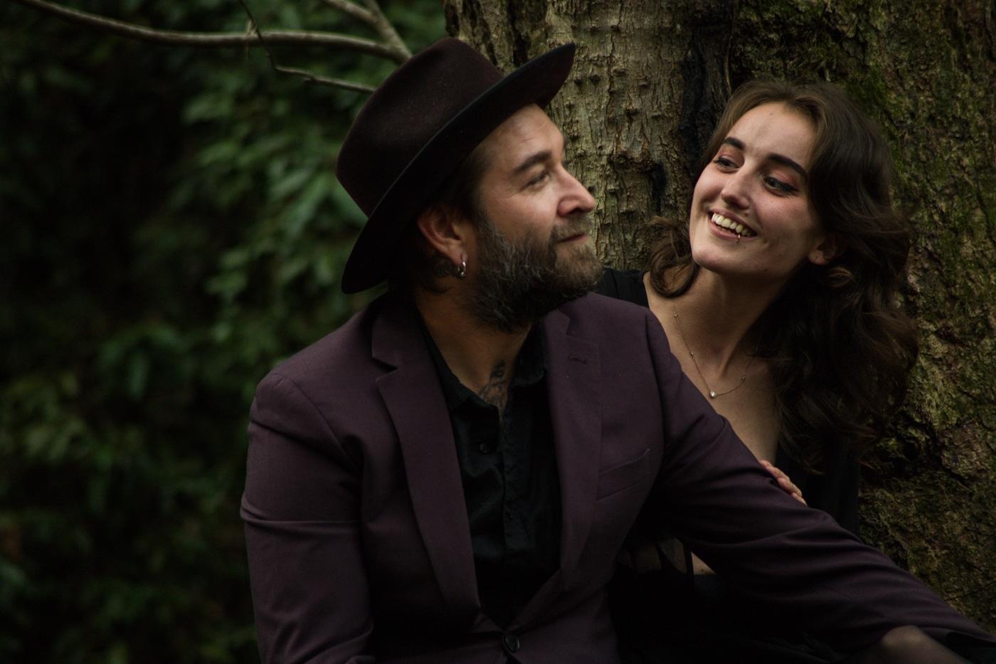 couples portraits in backyard with Atlanta GA photographer