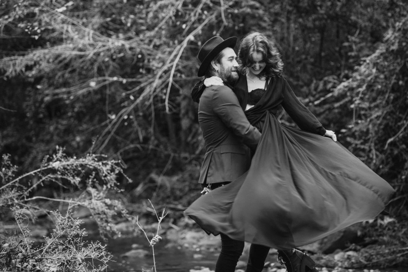 couple dances during Atlanta engagement session