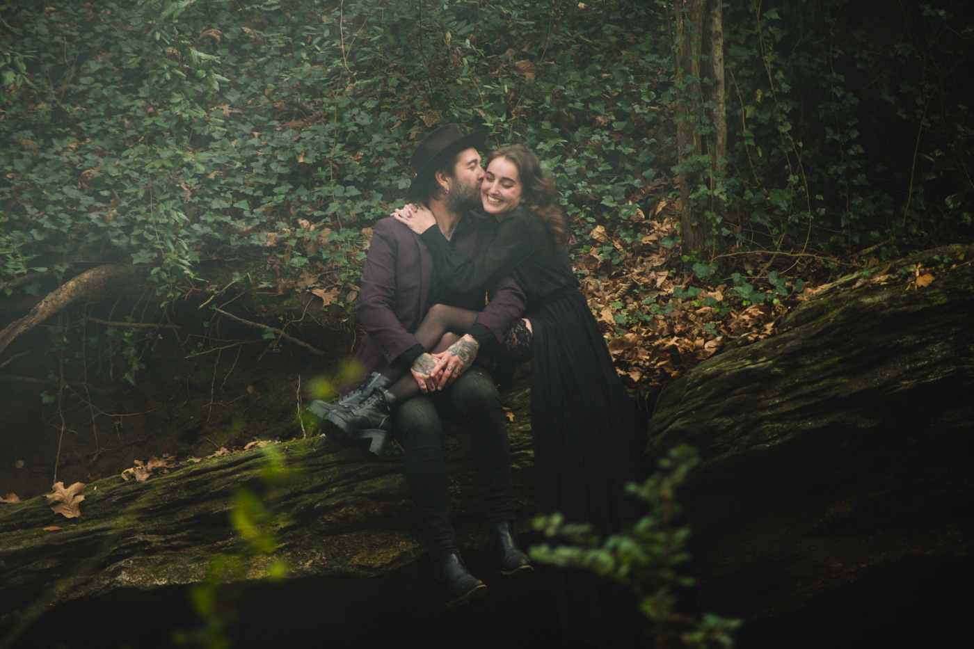 witchy portrait session in couple's backyard in Atlanta