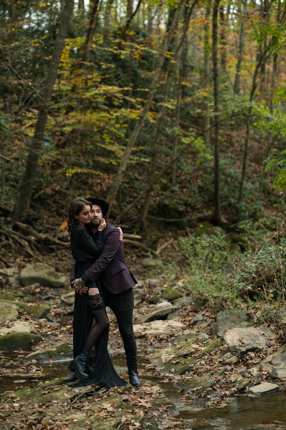 couple hugs during Backyard Witchy Portrait Session