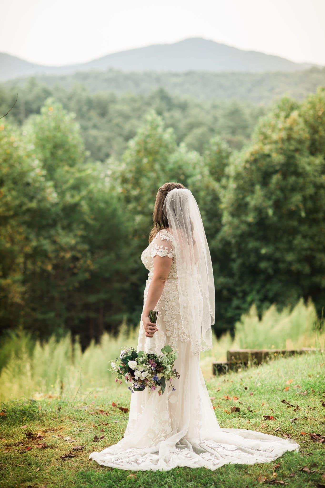 bridal portrait overlooking mountains in Helen GA