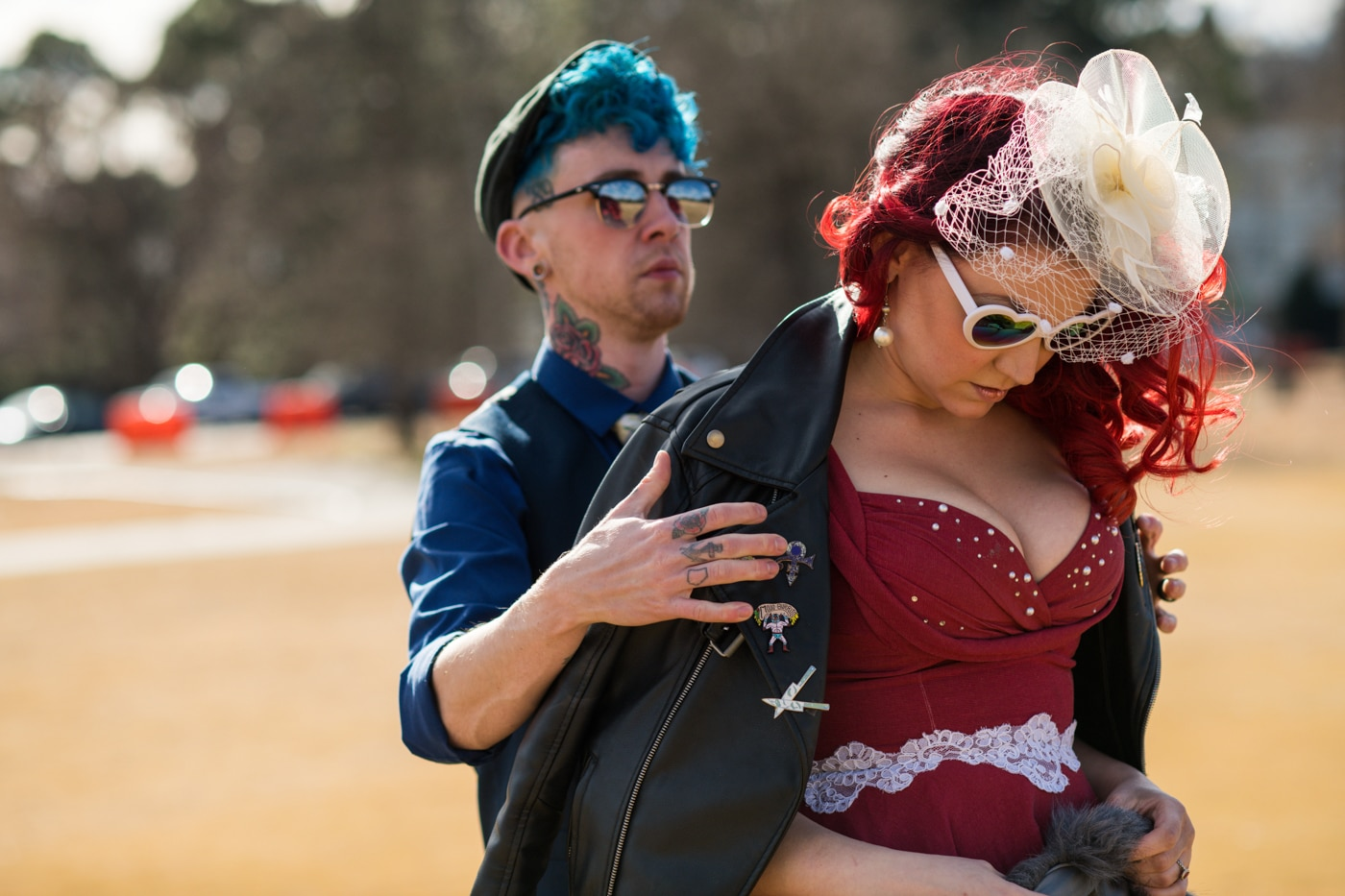 married couple has portrait session in Atlanta's Piedmont Park