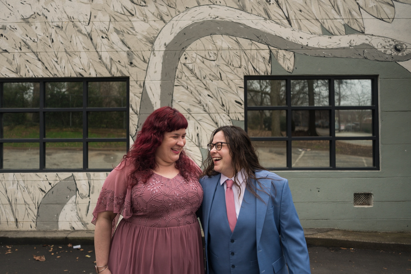 anniversary portraits in East Atlanta Village for married couple