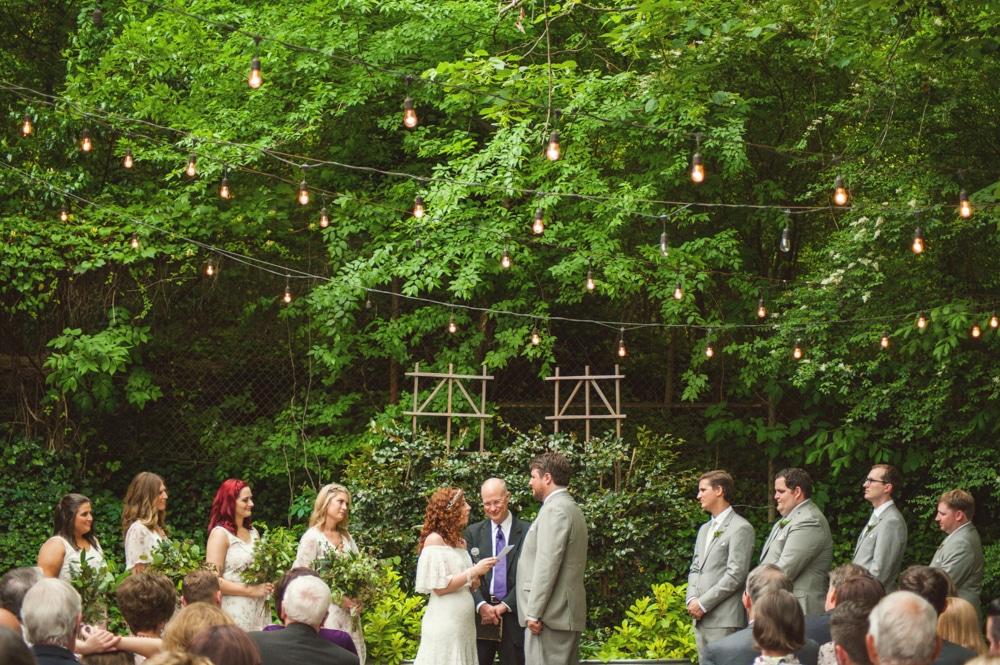 garden wedding ceremony at Monday Night Brewery