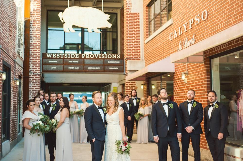 bridal party portrait outside Westside Provisions