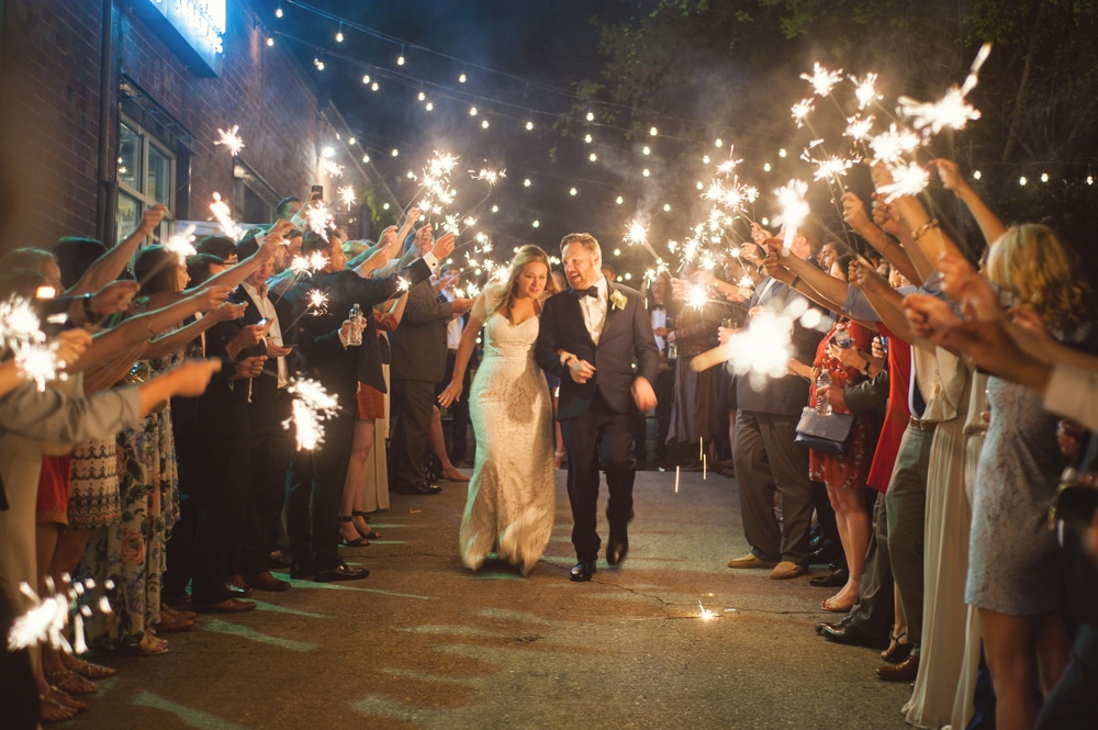 sparkler exit from Monday Night Brewery wedding reception