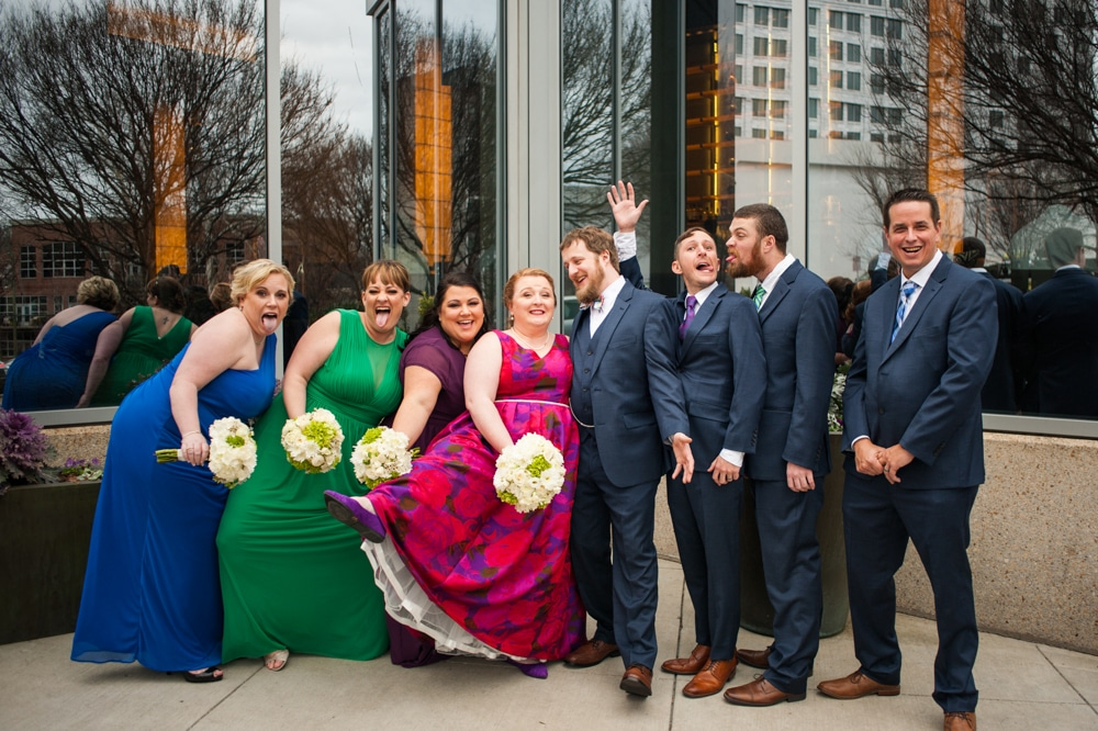 colorful bridal party portraits during Monday Night Brewery wedding