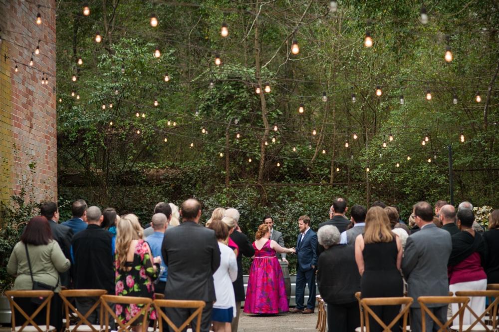 courtyard wedding ceremony at Monday Night Brewery
