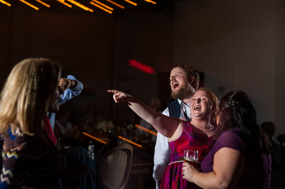 newlyweds dance during wedding reception at Monday Night Brewery