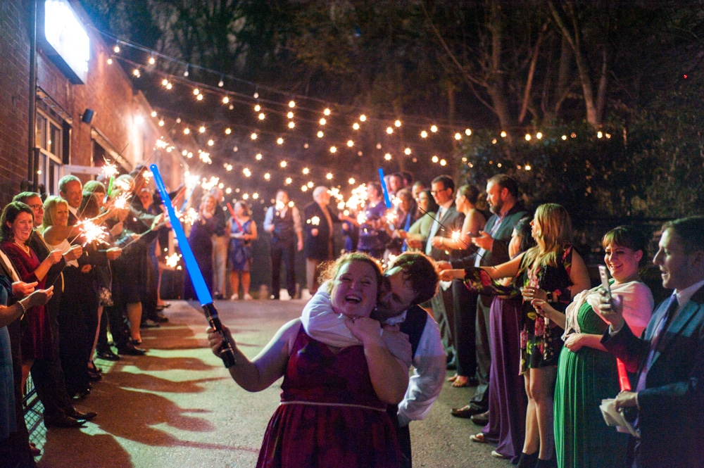 send off with sparklers and light sabers