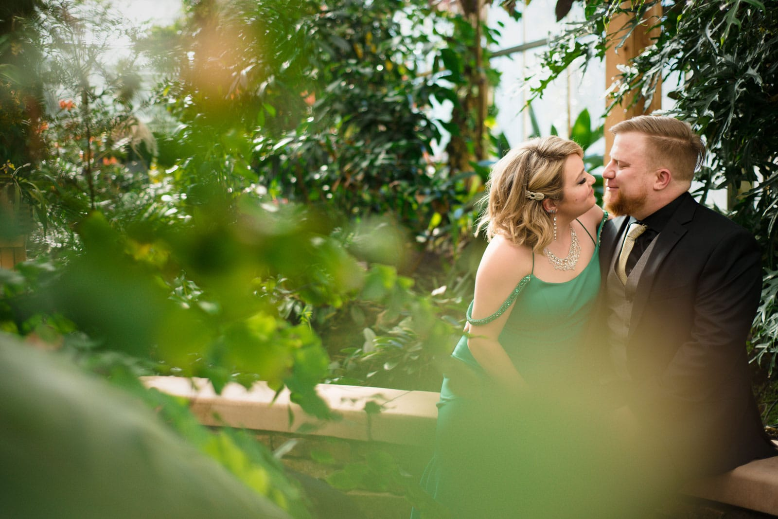 anniversary portraits in Atlanta Botanical Gardens for couple in formal attire