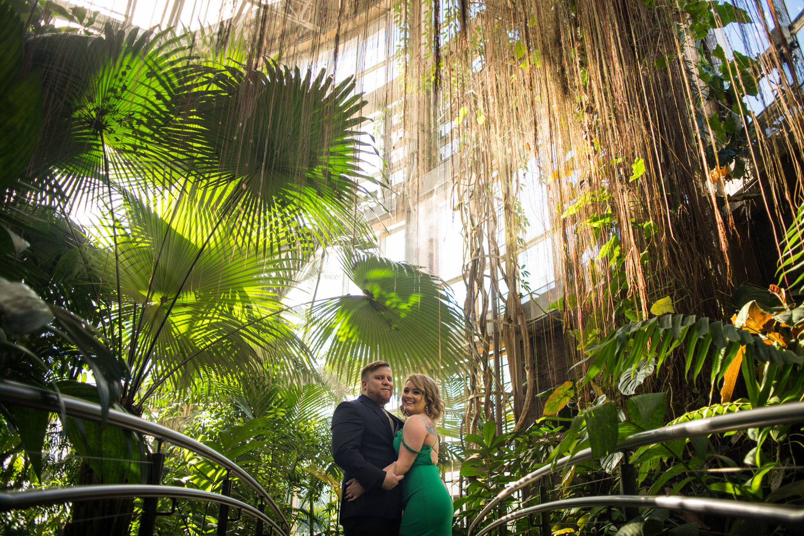 Atlanta Botanical Gardens portrait session for married couple in formal attire