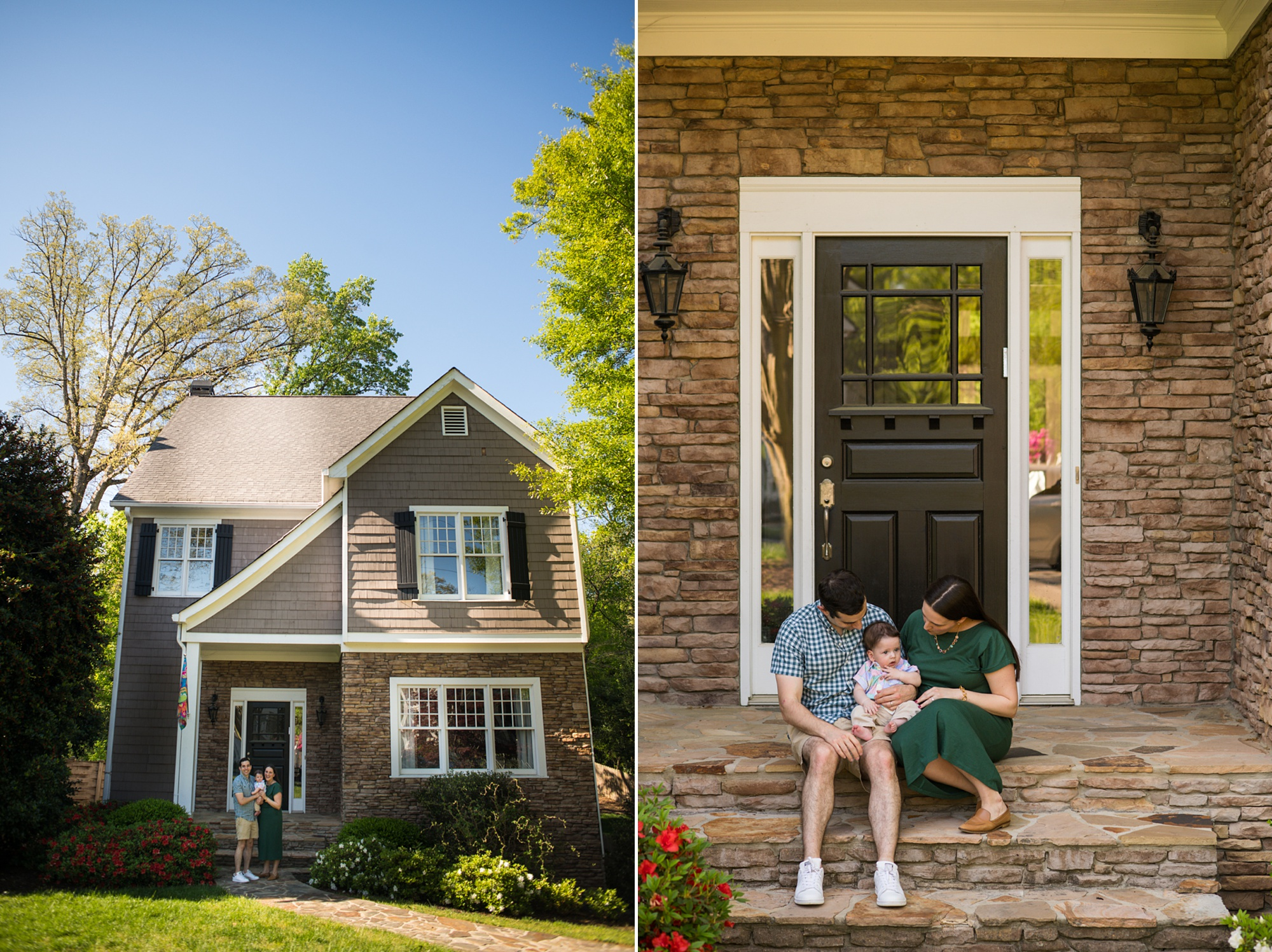Two photos of a young family sitting on their front porch in Atlanta GA Raven Shutley Studios