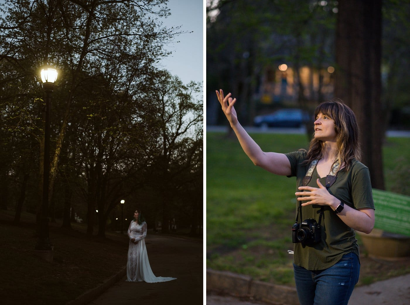 nighttime portraits of bride in wedding gown by lights at Grant Park