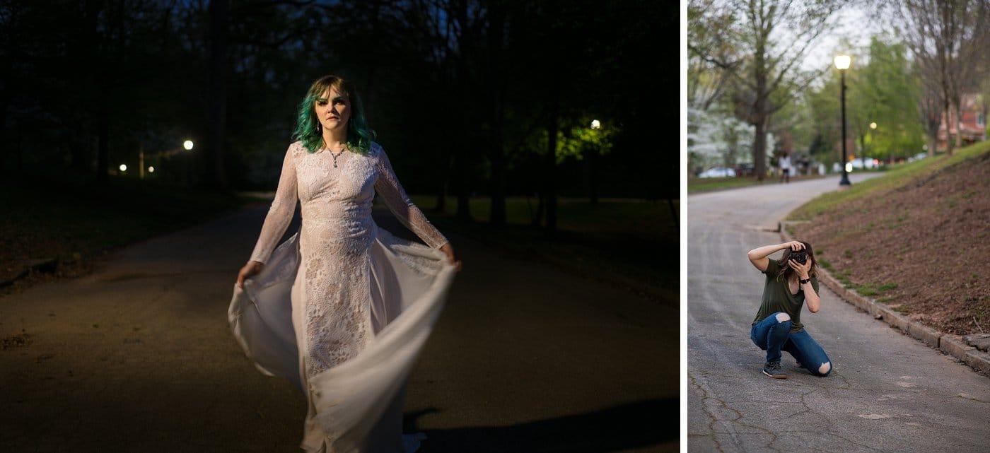 Grant Park bridal session portraits at night