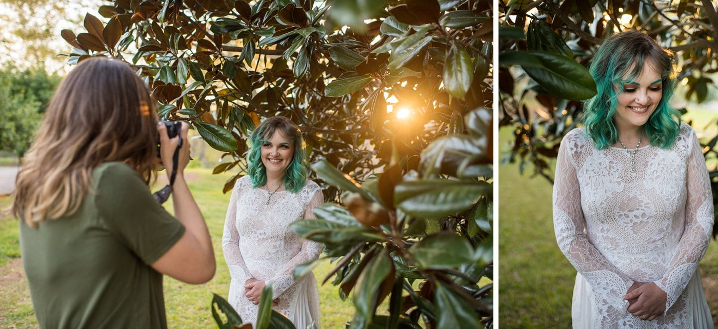 wedding photographer captures sunset bridal session