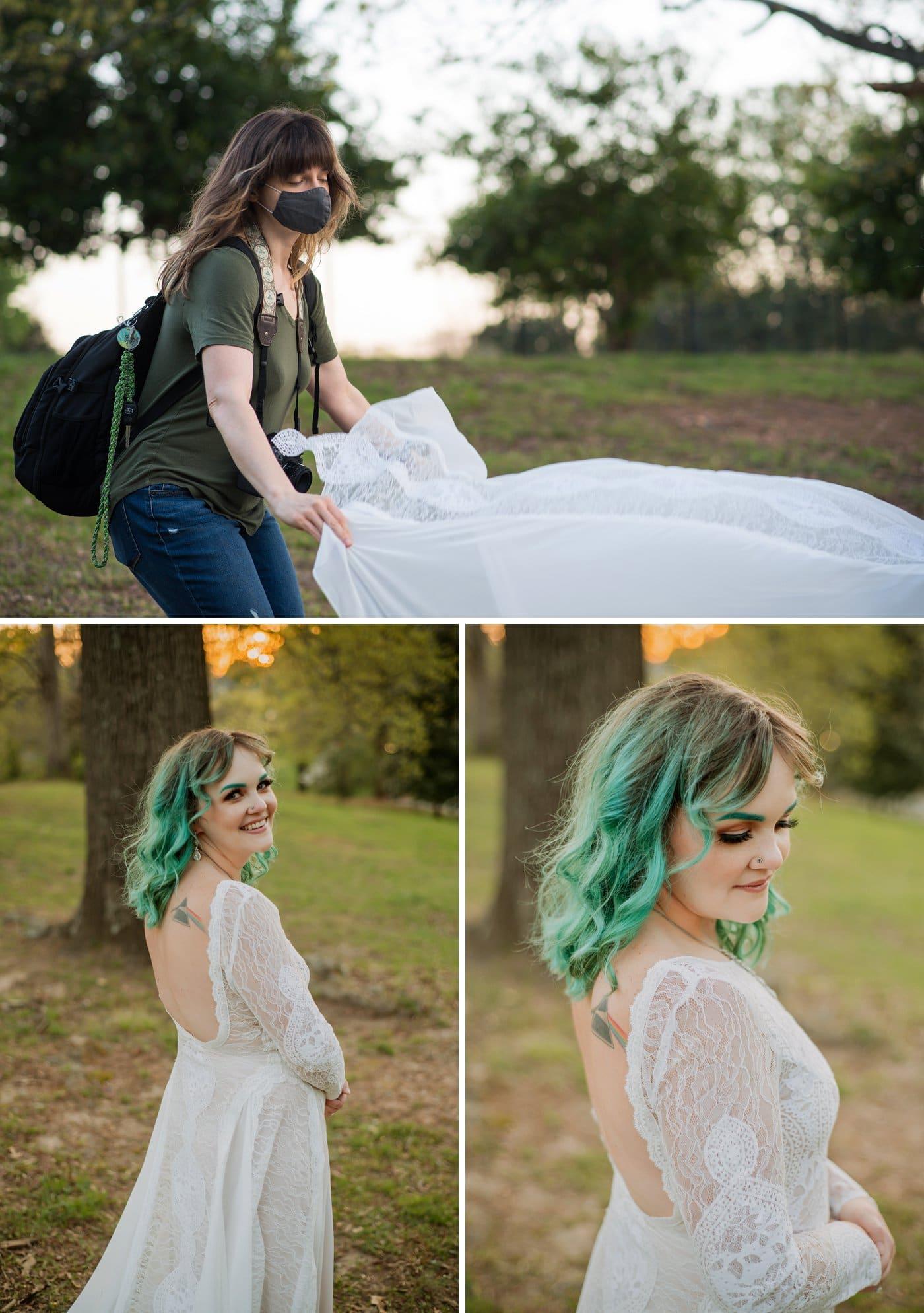 Raven Shutley Studios adjusts dress during Grant Park bridal session