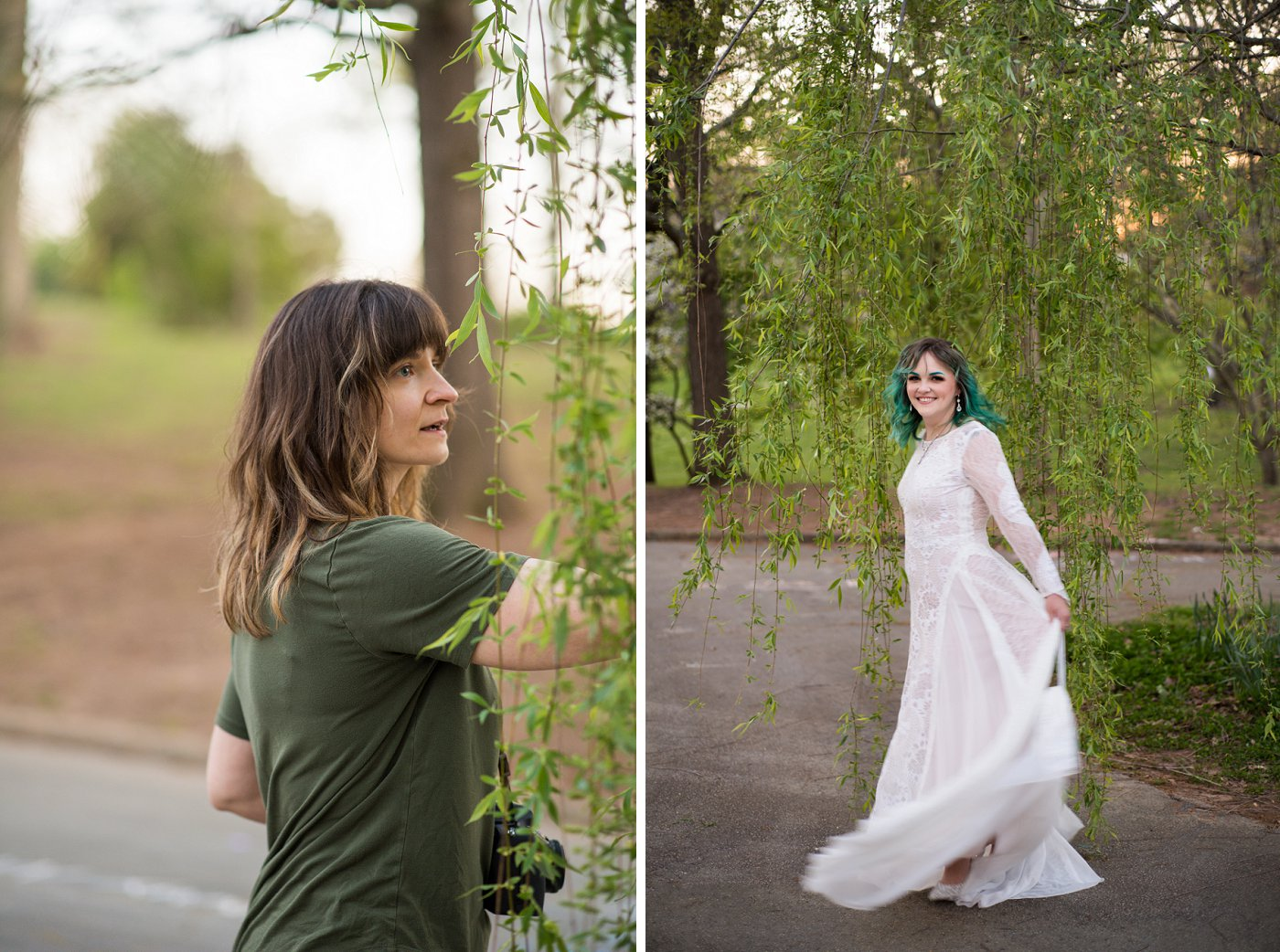 wedding photographer directs bride during Grant Park bridal session
