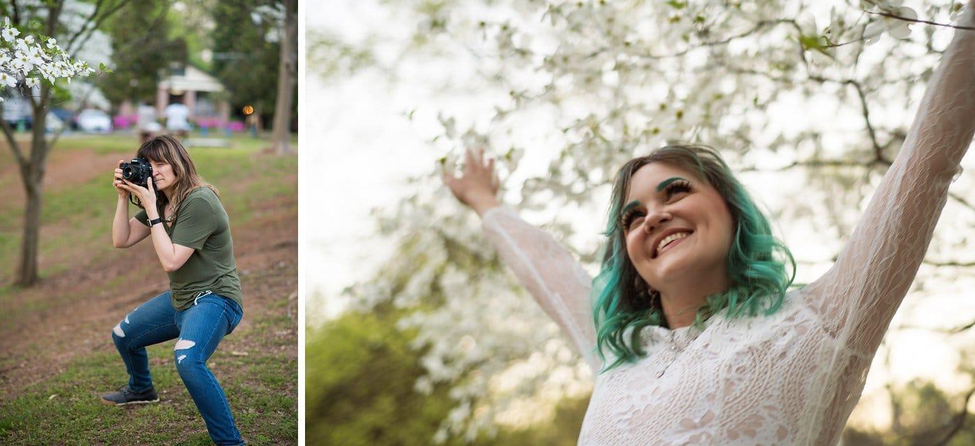 bride smiles and laughs during bridal portraits in Atlanta park