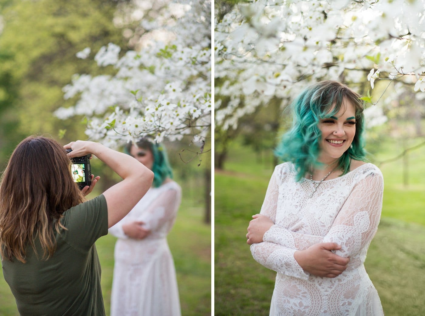 bride crosses arms under white flower on t
