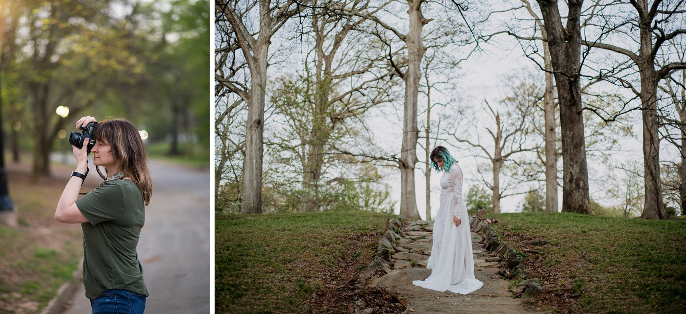 photographer captures bride on hill in Grant Park