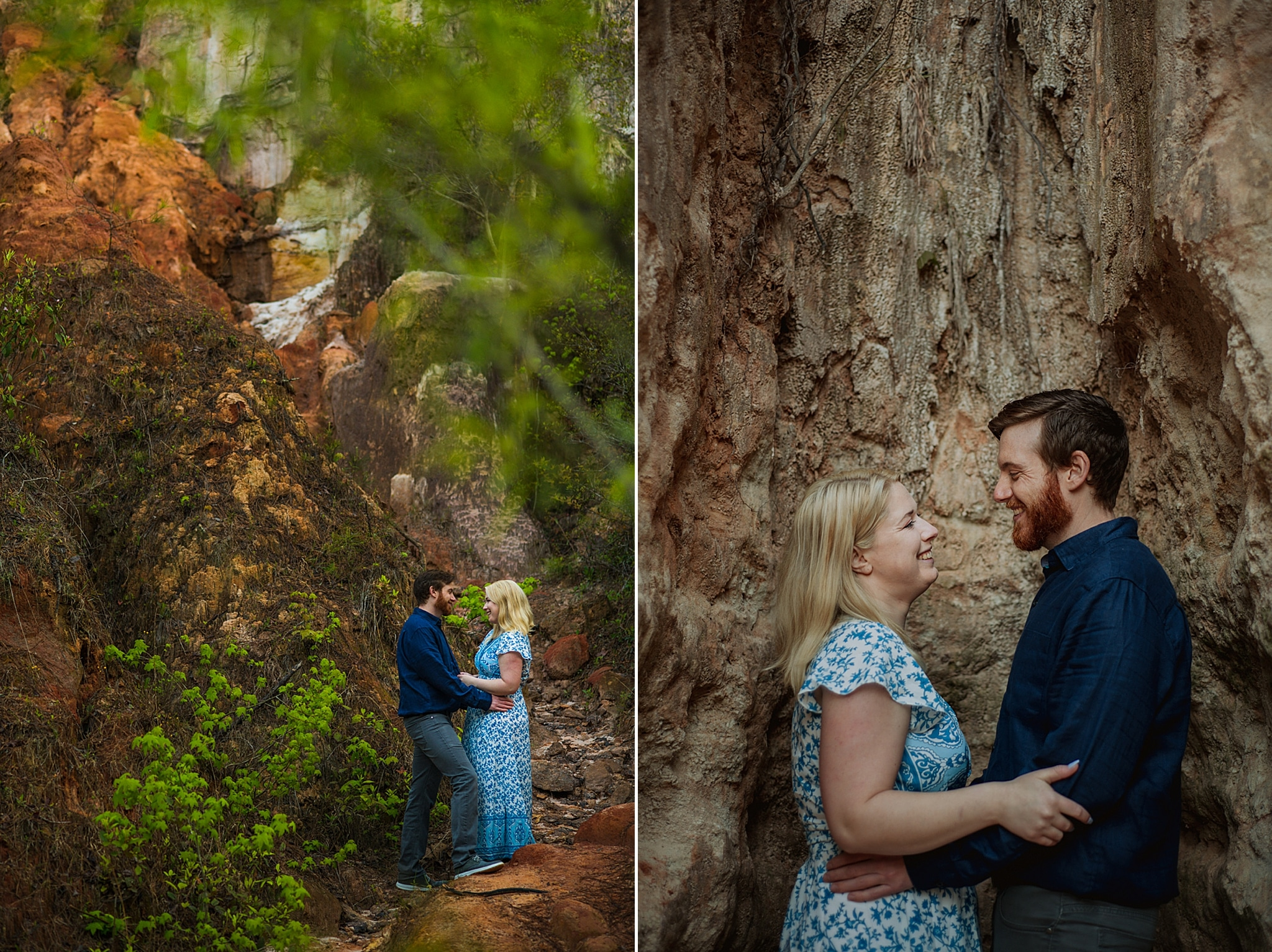 couple hugs in Atlanta canyon during engagement session