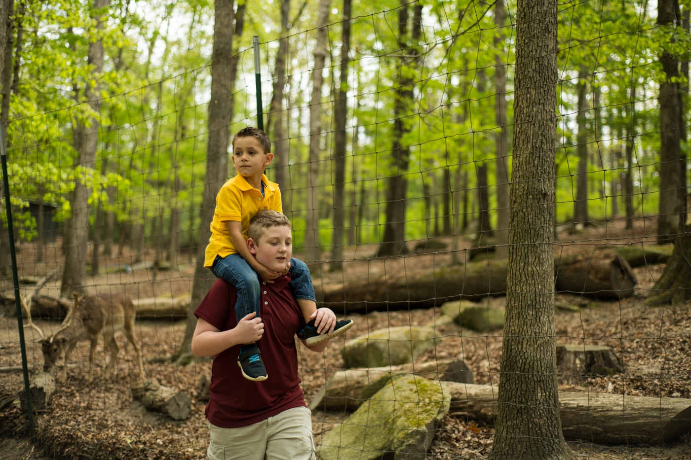 brother carries younger brother on shoulder through wildlife preserve