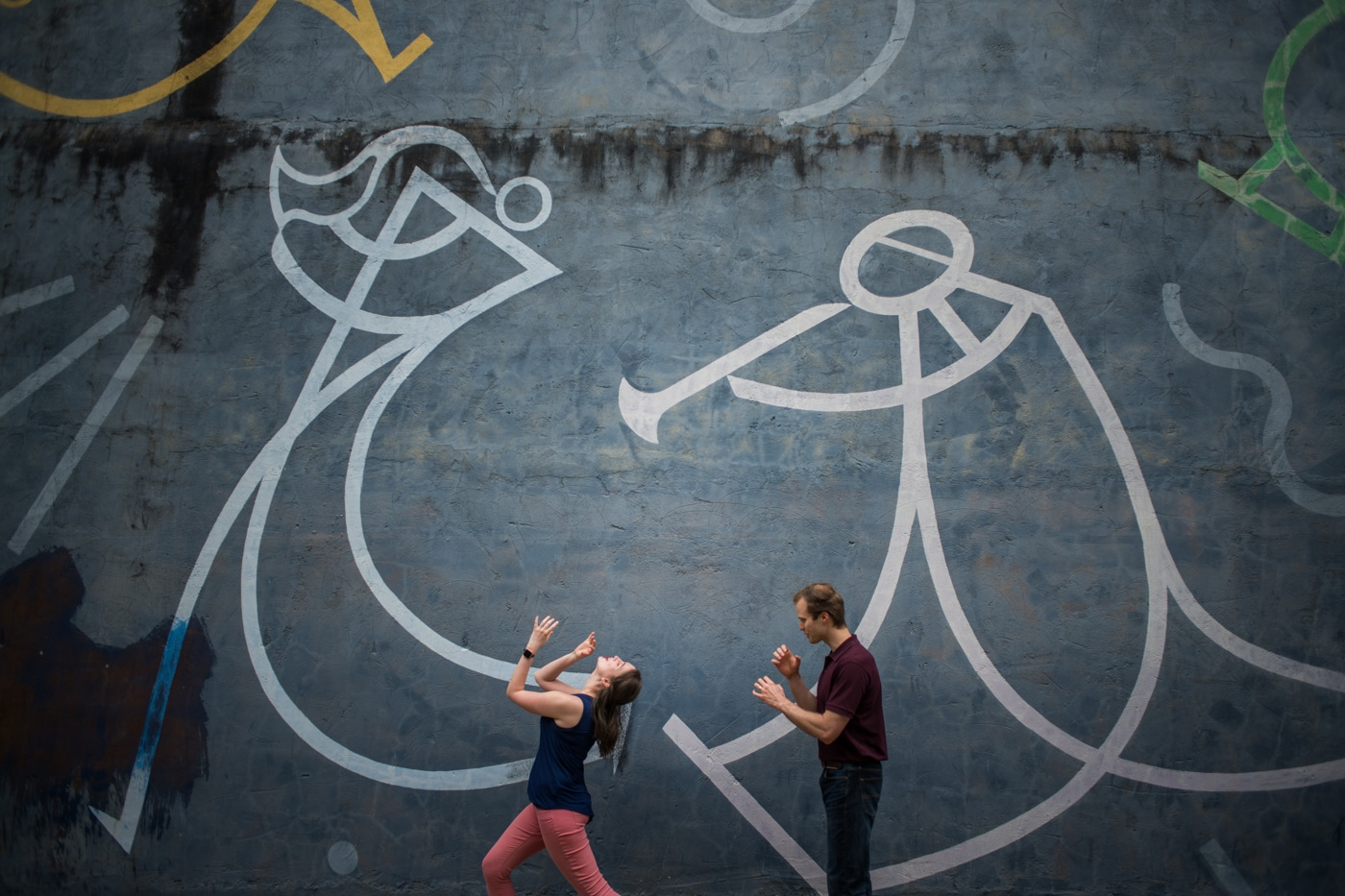 couple mimics musical inspired mural in Downtown Durham