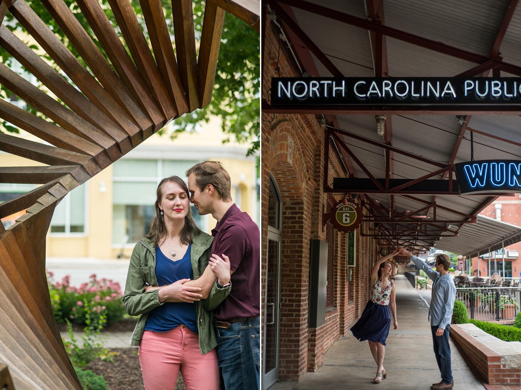 couple hugs during Durham engagement session