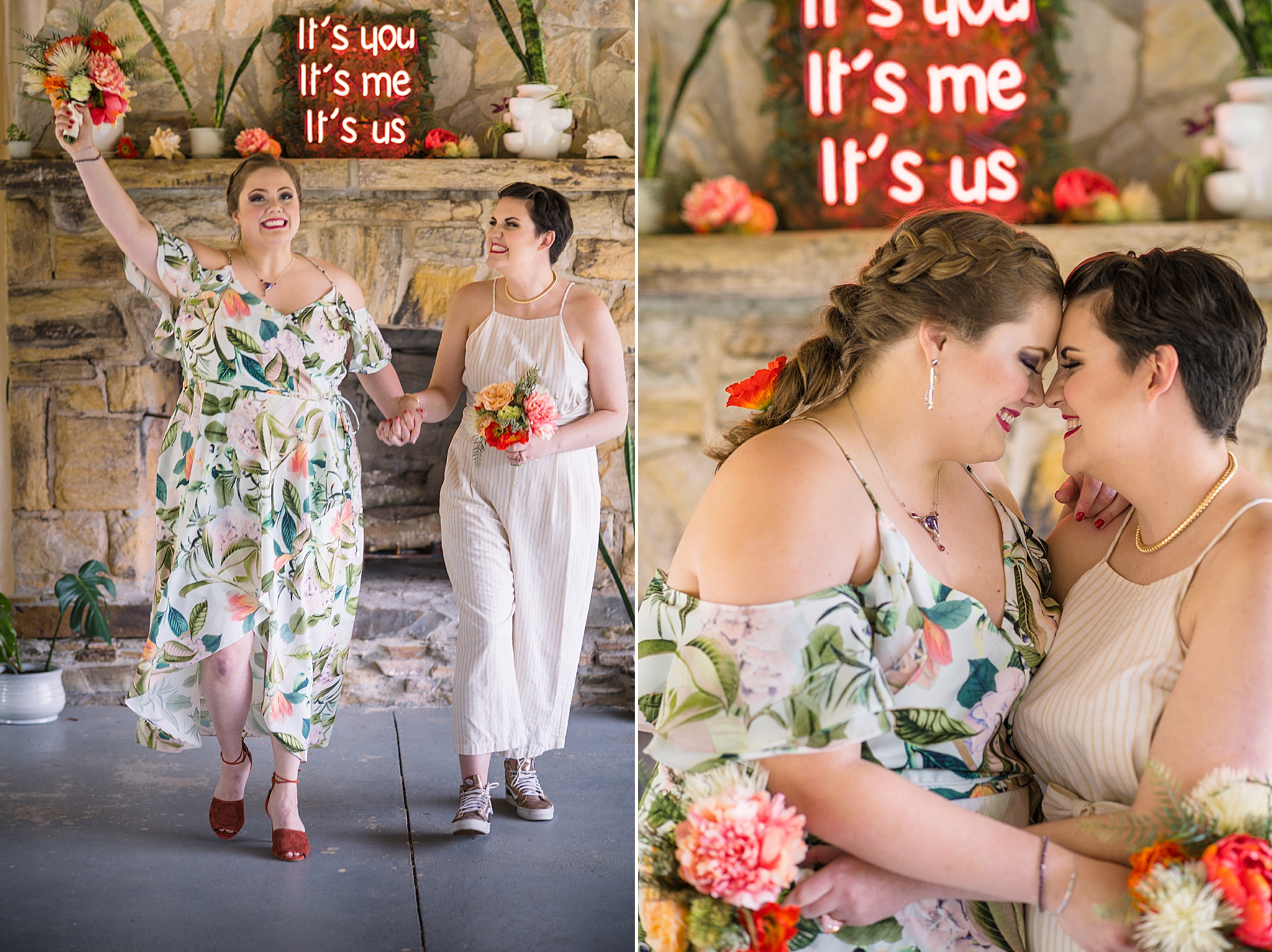 brides cheer after ceremony at Bill Scott Pavilion
