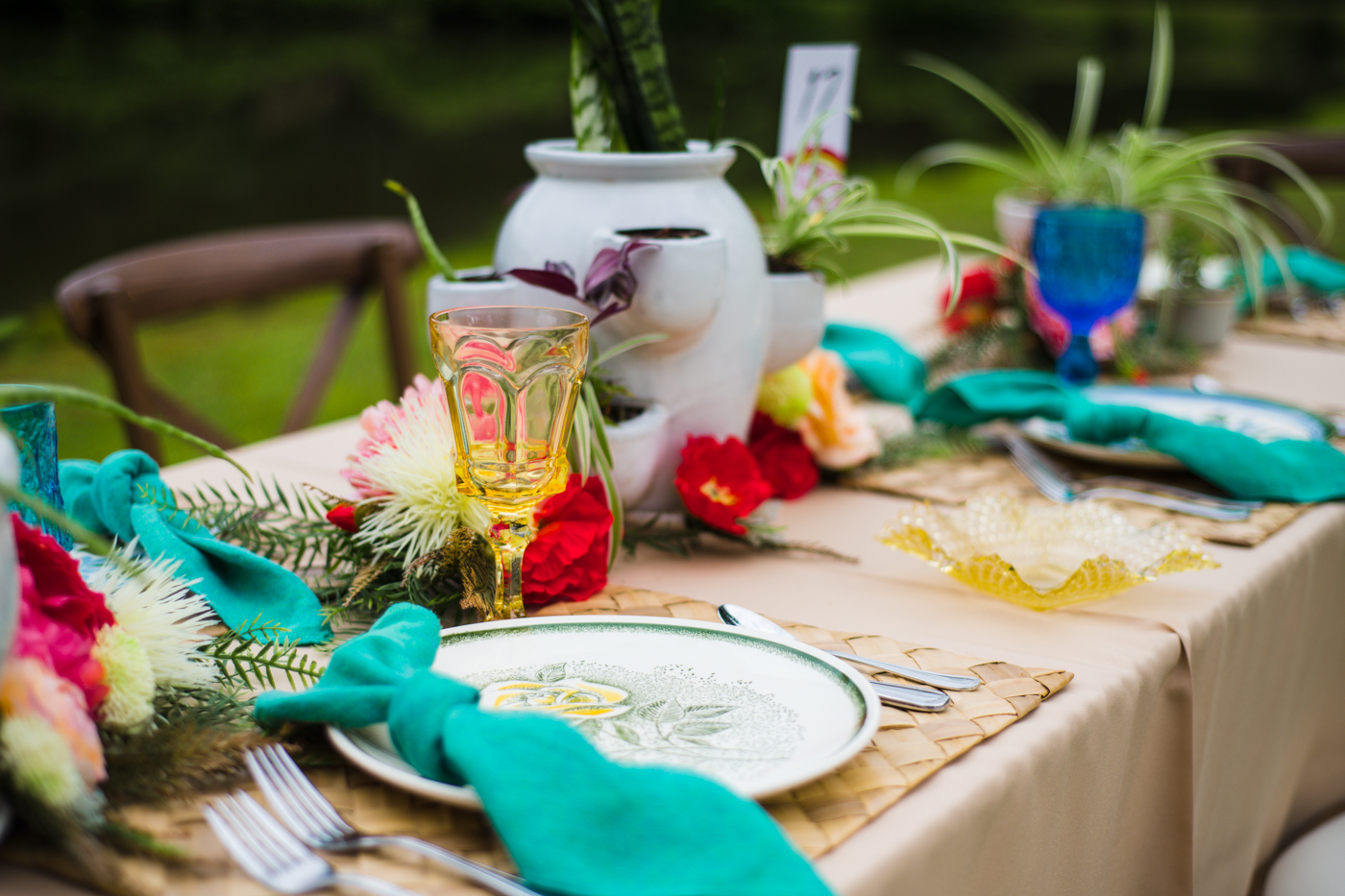 bright colored reception details for main table
