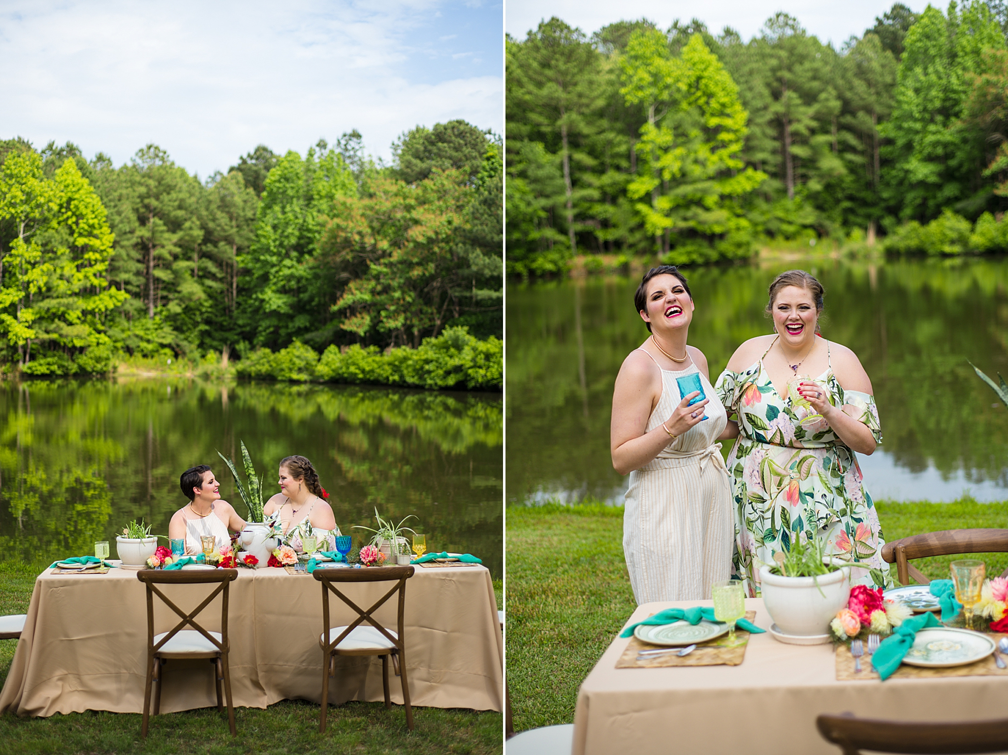 brides laugh together during Green Wedding Guild styled shoot