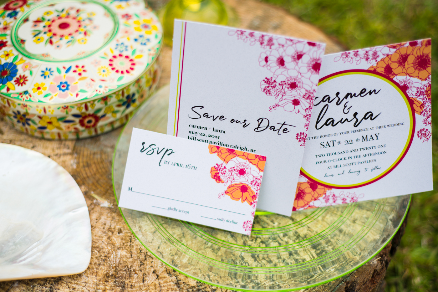 paper goods for tropical Green Wedding Guild styled shoot