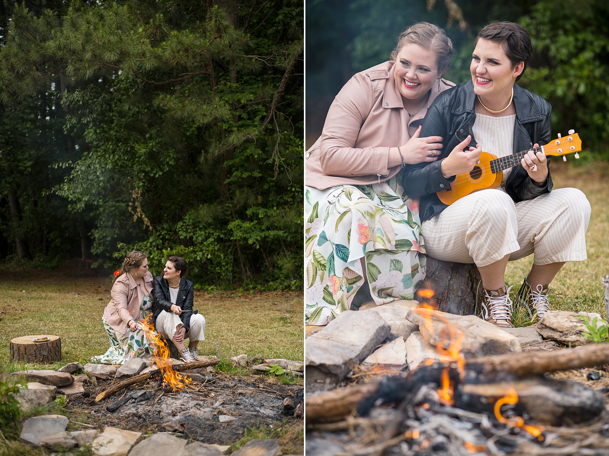 brides sit by campfire singing during Green Wedding Guild styled shoot