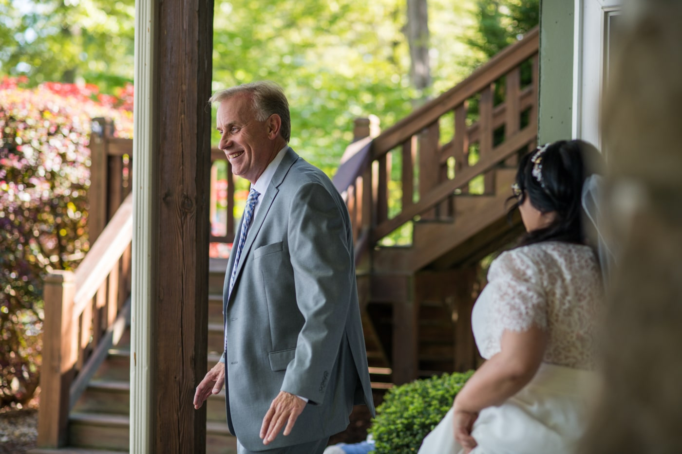 bride walks towards groom for first look