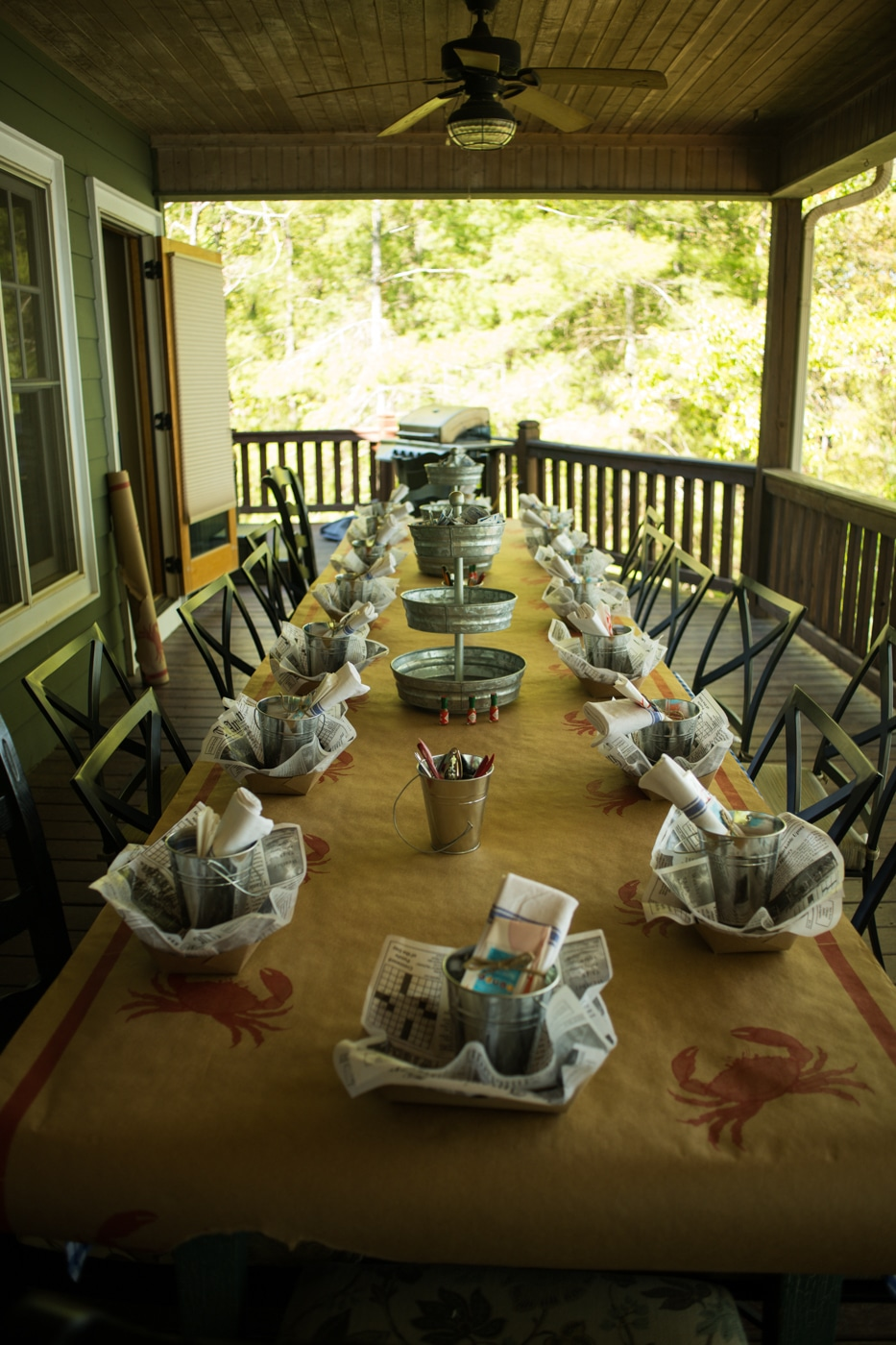 picnic table covered for low country boil