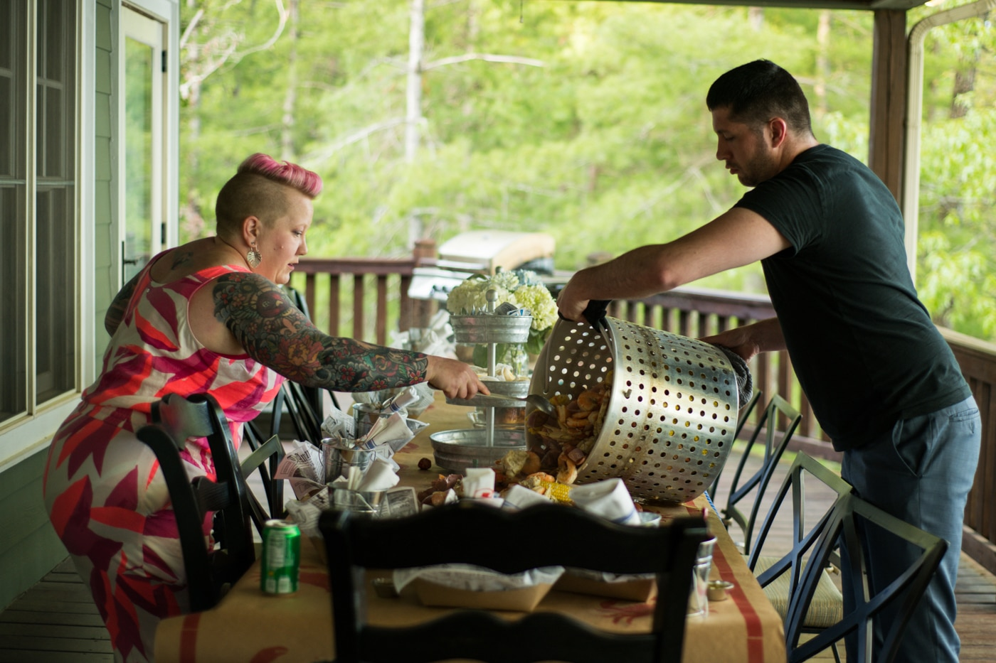 family preps low boil for wedding reception
