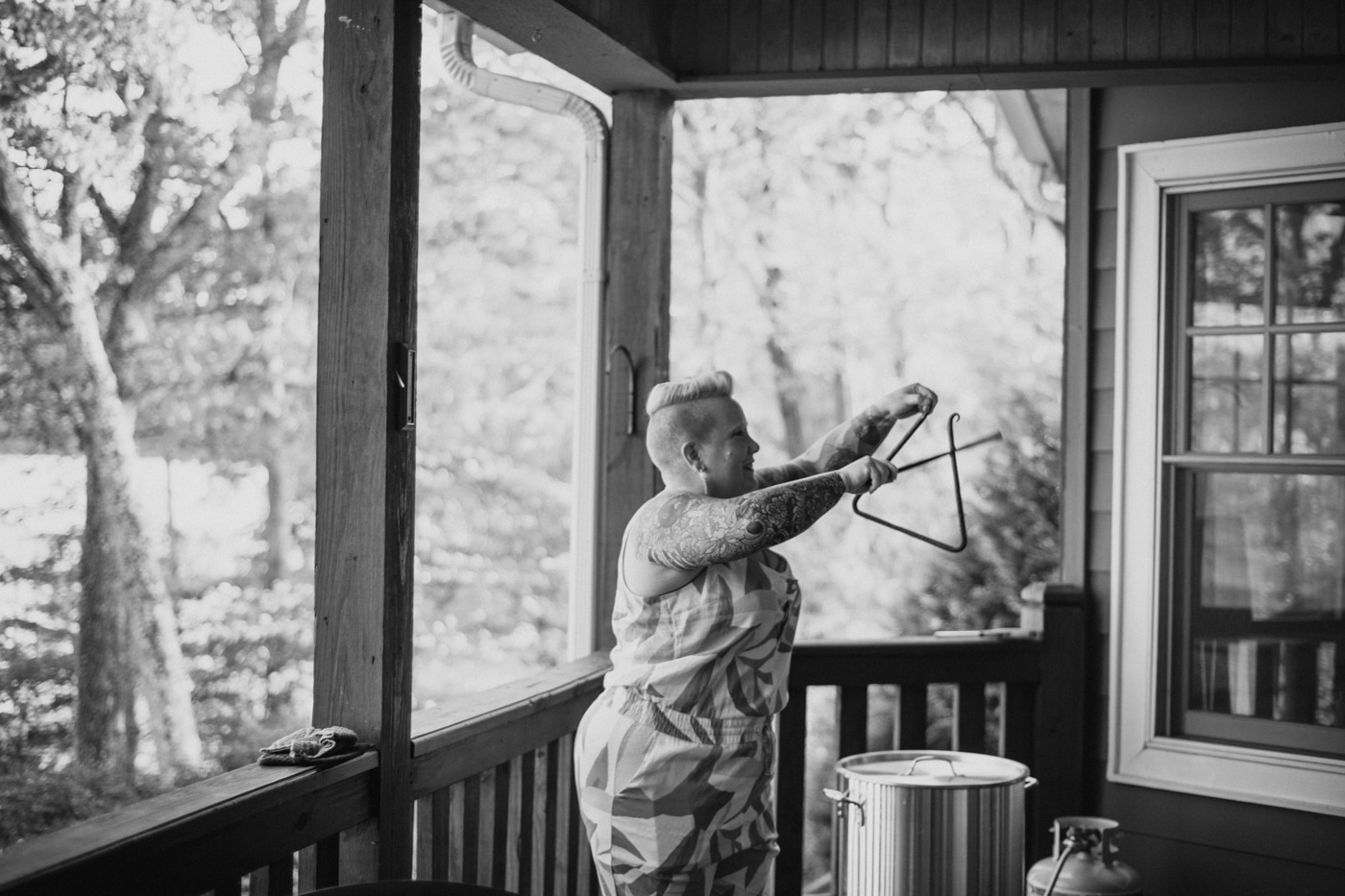 woman rings bell for low country boil