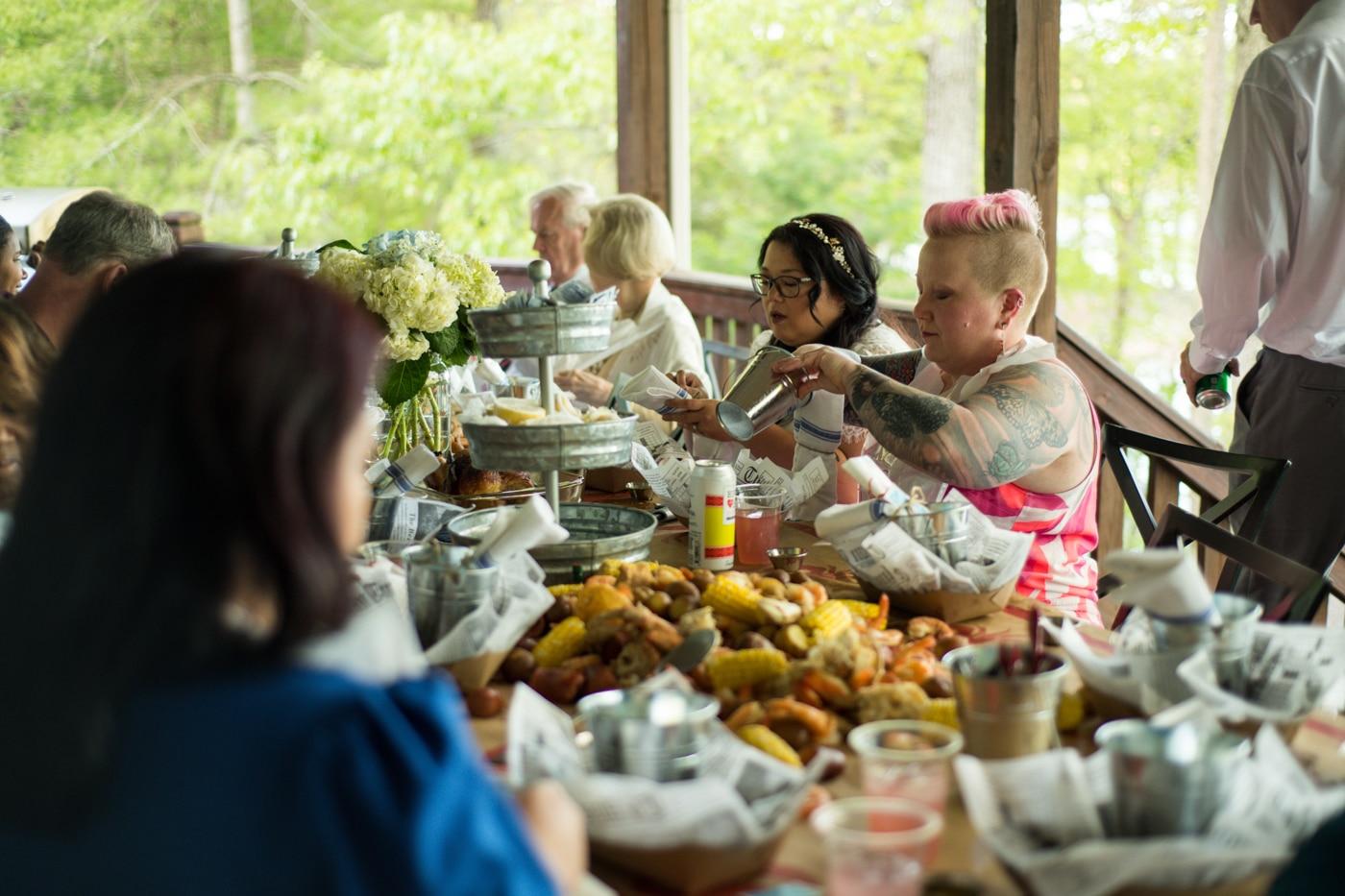 wedding guests enjoy low boil