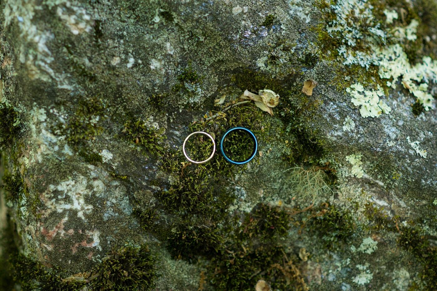 wedding rings on mossy rock by lake
