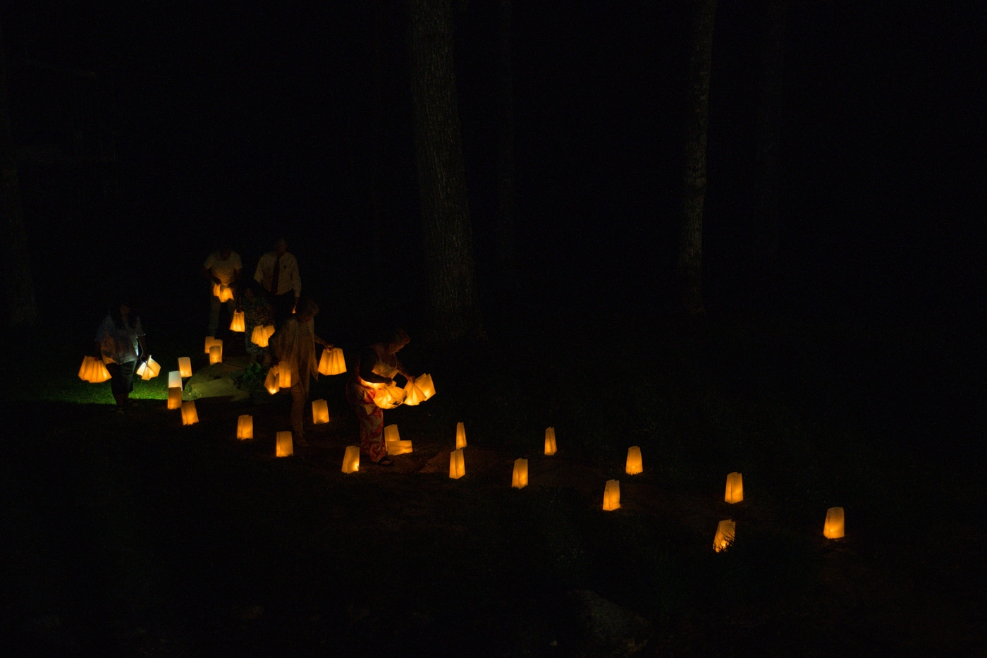 lanterns light pathway at Lake Blue Ridge house